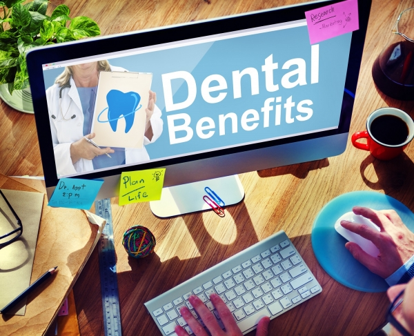 computer screen displaying dental benefits message